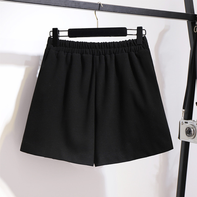 2019 autumn winter plus size shorts for women large loose elastic waist wide leg thick work wear shorts black 4XL 5XL 6XL 7XL 3