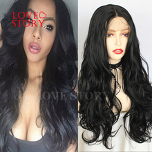 Lovestory Black Synthetic Lace Front Wig Body Wave Middle Part