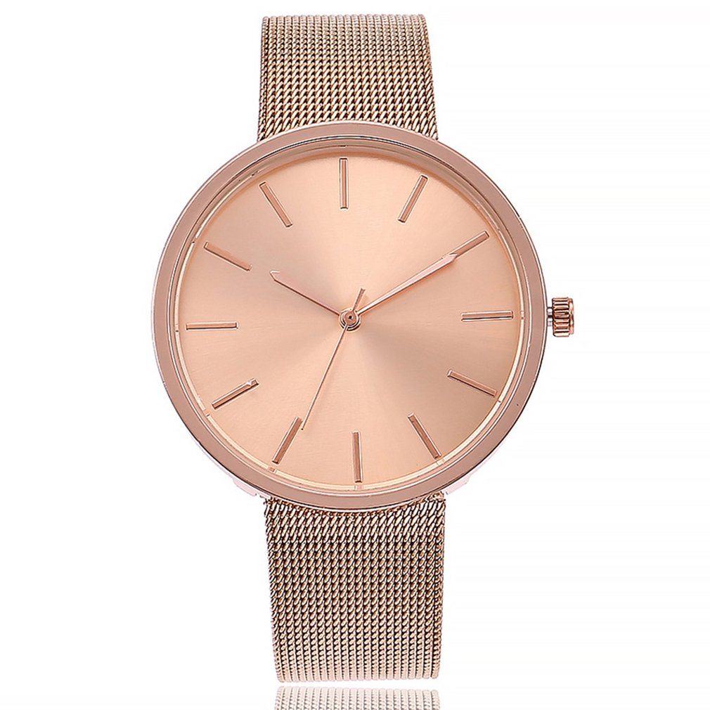 Smple Mesh Strap Quartz Watch Simple Design Wristwatch 2018 New Quartz Watch Steel Strap Classic Big Round Dial Girls GIFTS