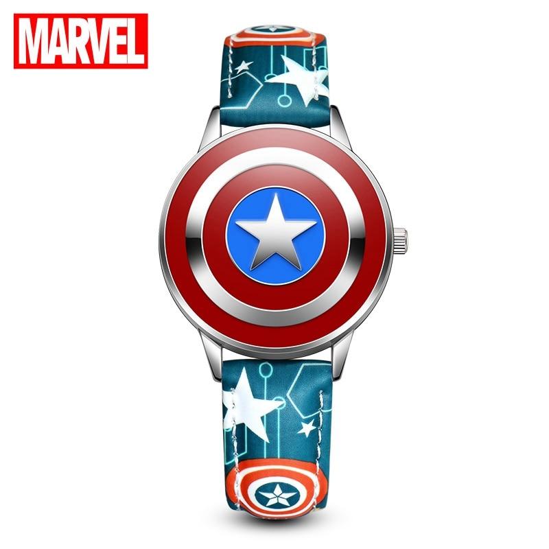 Marvel Avengers Captain America Teen Boys Quartz PU Band Waterproof Flip Watch Children Like Firm Shield Hero Watches Disney Top