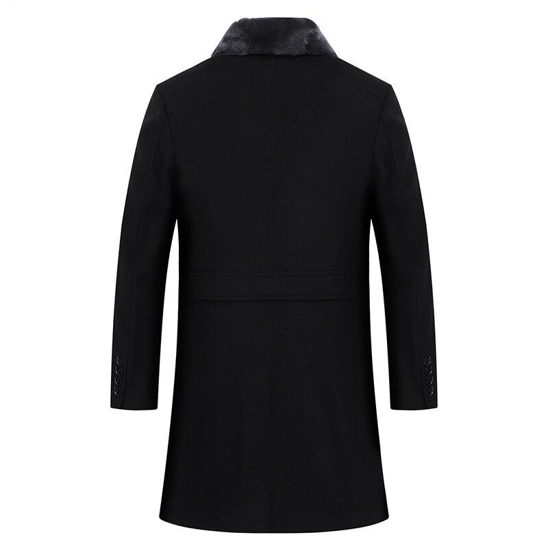 2019 Новые повседневные толстые черные мужские зимние кожаные куртки и пальто - 2