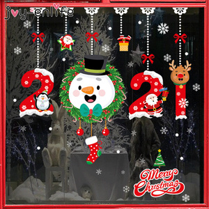 2021 Merry Christmas Stickers Santa Claus Deer Xmas Tree Snowflake Wall Window Stickers Ornaments Navidad New Year Decoration
