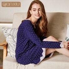Qianxiu sleepskits dla kobiet nowy model z koronki 95% bawełna 1662