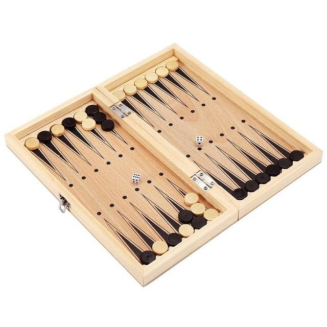 Jouet 3 en 1 pliable pour apprentissage, jouet Portable pour débutants, jeux de Backgammon, voyages, échiquier en bois, divertissement pour adultes et enfants 2