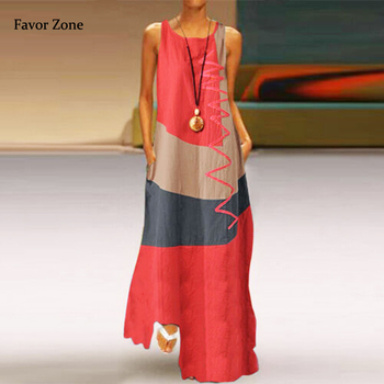 Vintage Casual Geometric Print Women Long Dress Summer Sleeveless Pockets Tank Maxi Dress Loose Plus Size Robe Femma Sundress цена 2017