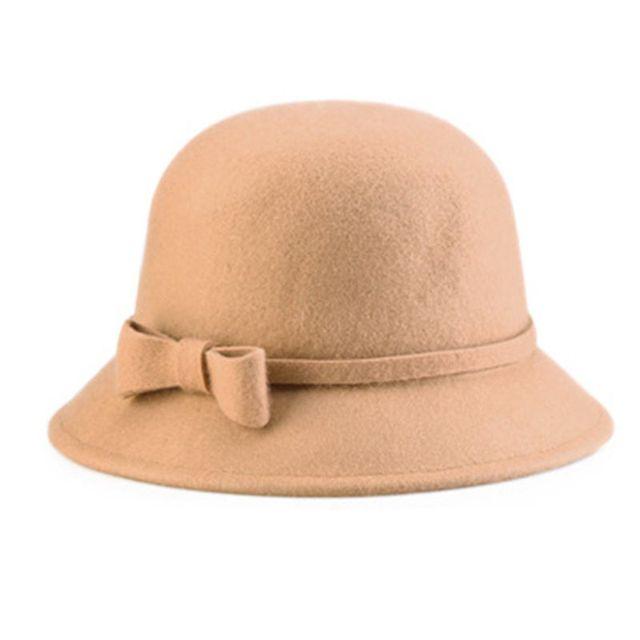 JulySeeYouz Vintage Bowler Bucket Hat Vintage Frauen Faux-Wollfilz Wannen-H/üte Cloche Bowler Kappe mit Bowknot Lady Bucket-Winter-warme M/ütze