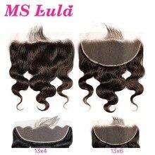 גוף גל 13x6 13x4 תחרה פרונטאלית סגר עם תינוק שיער MS לולה ברזילאי 100% שיער טבעי רמי שיער מראש קטף עבור שחור נשים