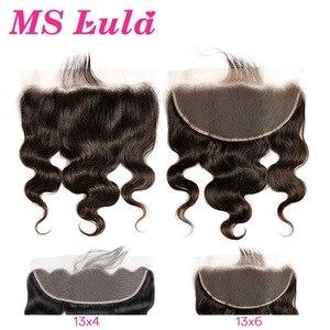 Image 1 - Vücut dalga 13x6 13x4 dantel Frontal kapatma ile bebek saç MS Lula brezilyalı % 100% insan saçı remy saç ön koparıp siyah kadınlar için