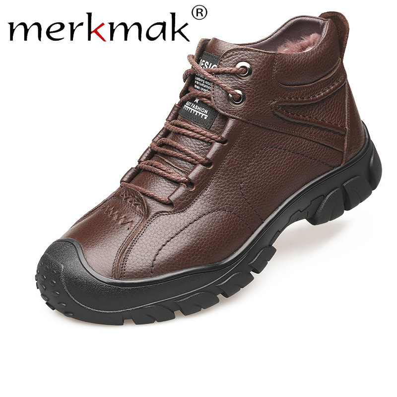 Merkmak Winter Men's Boot Casual Genuine Leather Shoes Man Business Plus Velvet Warm Male Ankle Boot Lace-up Comfortable Shoes