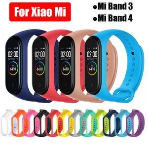 Image 1 - For Xiaomi Mi Band 3 4 Strap Silicone Wrist Strap For Xiaomi Mi Band 3 4 Accessories Bracelet Replacement Straps
