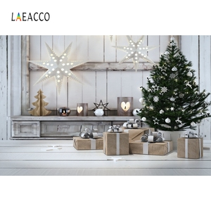 Laeacco Christmas Photography Backdrops Tree Star Gift White Wooden Board Photo Backgrounds Newborn Children Photophone Props