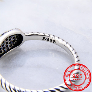 Image 3 - 100% Sterling Silver 925 Ring Inlaid Zircon Retro Silver Open Ring Lady Wedding Gift Fashion Jewelry