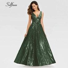 Mode Frauen Sparkle Kleid A-linie Doppel V-ausschnitt Ärmellose Pailletten Abend Party Kleid Damen Gold Maxi Kleid Lange Jurken