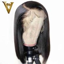 Lace Front Human Hair Wigs For Women Black Brazilian Remy Hu