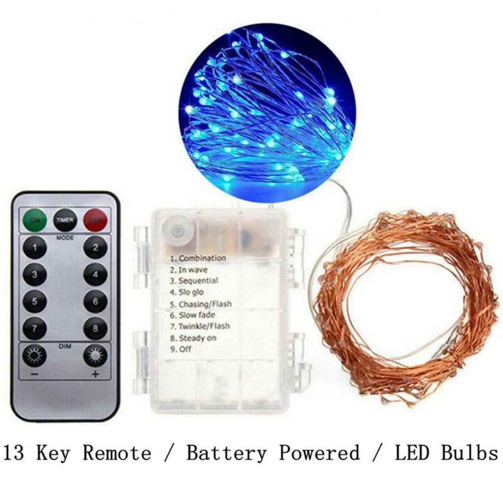 50/100 Pcs LEDs Battery Operated Mini LED Copper Wire String Fairy Lights + Remote Controller Car Home Universal Holiday Decor