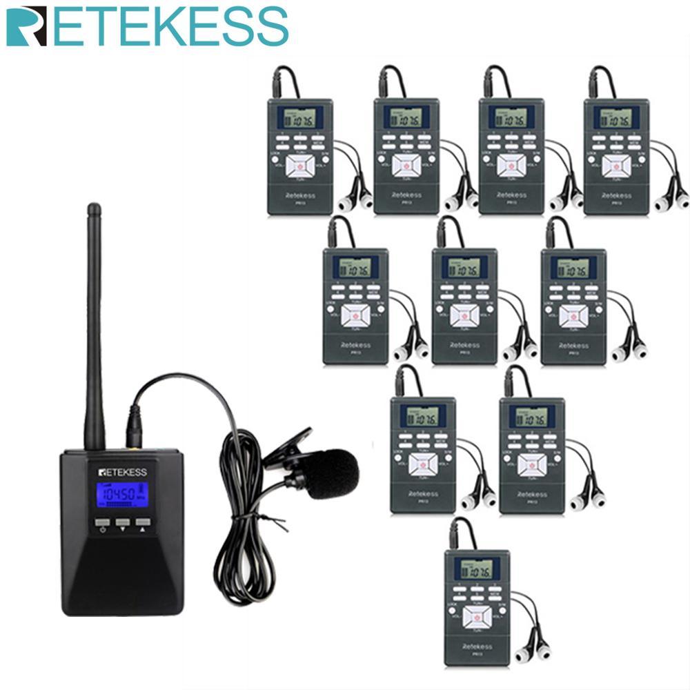 1 FM Transmitter TR506+10Pcs FM Radio Receiver PR13 Wireless Tour Guide System For Guiding Meeting Simultaneous Interpretation