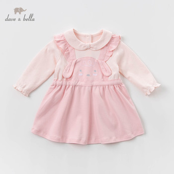 DBH13014 dave bella spring baby girl's princess cartoon rabbit dress children fashion party dress kids infant lolita clothes image
