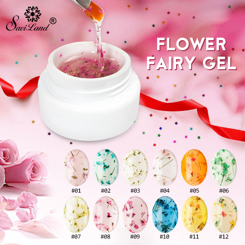Saviland 2020 Newest DIY Natural Dried Flower Fairy Nail Gel Polish Floral Soak Off Manicure UV Nail Art Gel Glue