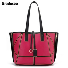 Gradosoo Deformation Women Tote Bags Luxury Leather Shoulder Female Double Side Designer Handbags For Big LBF635