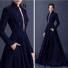 Evening-Dress Arabic Islamic-Dubai Long-Sleeves Muslim Navy-Blue V-Neck Beaded Saudi