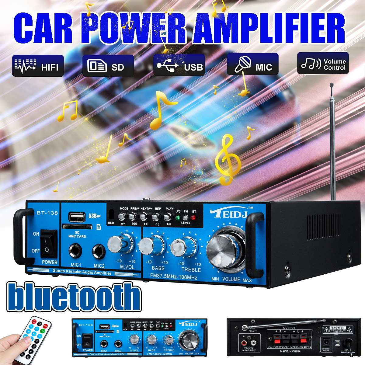 800 Вт 12 В/220 В 2,0 канальный Hifi bluetooth автомобильный аудио усилитель мощности домашний кинотеатр усилители SD fm радио Музыка Караоке W/двойной микрофон