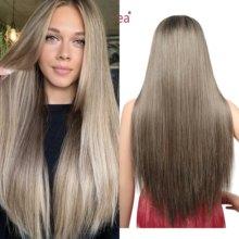 Peruca dianteira do laço reto perucas de cabelo sintético para as mulheres 13x6 parte do laço peruca com linha fina natural ombre peruca frontal do laço 30