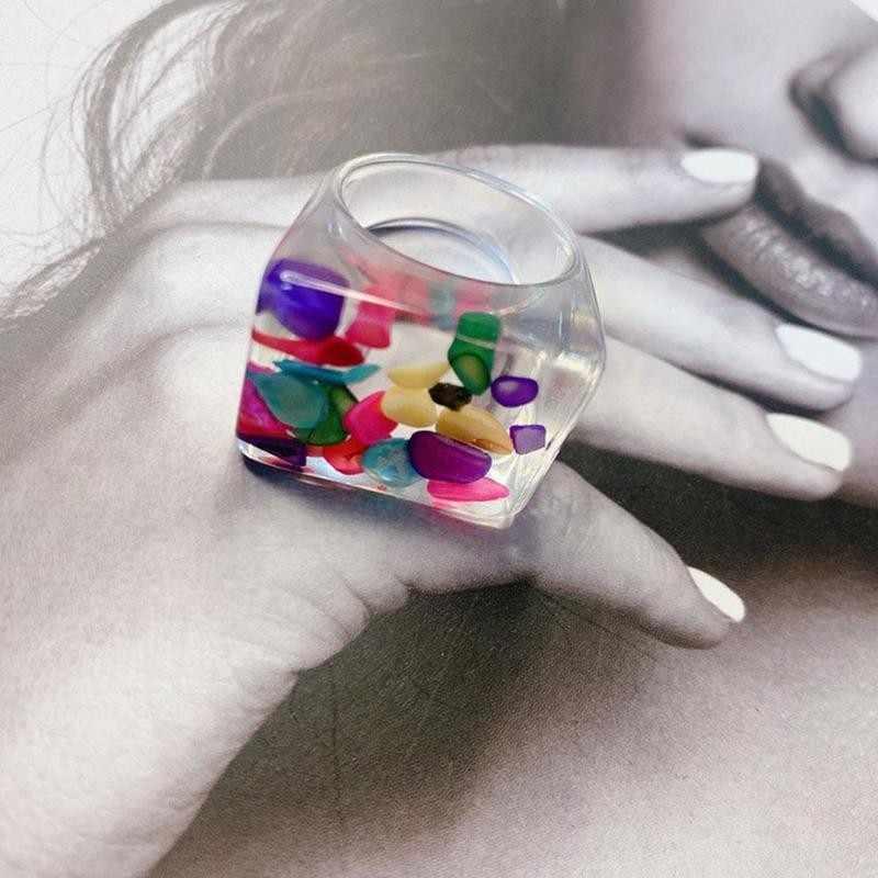 otali.ru новые яркие прозрачные акриловые нерегулярные мраморный черепаха из смолы для девочек Anillos для Женская обувь ювелирных изделий узор кольцо Ri E5J7
