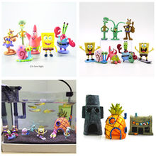 Haus Aquarium SpongeBob Figuren Ornamente Ananas Haus Thaddäus Ostern Insel Krusty Krab Fisch Tank Dekoration Decor(China)
