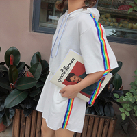 Summer Fashion Women New Rainbow Striped Short sleeved Hooded Lacing Tops Female T shirt + Pockets Shorts Two piece CY209