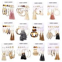 2020 New Vintage Tassel Acrylic Earrings For Women Bohemian Earrings Set Big Dangle Drop Earring Brincos Female Fashion Jewelry sansummer 2019 new hot fashion maple leaf pendant asymmetric tassel vintage style acrylic elegant earrings for women jewelry
