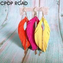 Cpop кожаные серьги с кисточками для женщин из натуральной овечьей