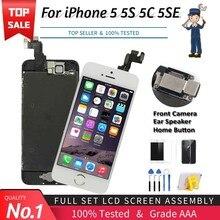 Conjunto completo de tela, botão e câmera para iPhone, visor LCD sensível ao toque, digital, reposição total, altíssima qualidade, para modelos 5 5C 5S 5SE