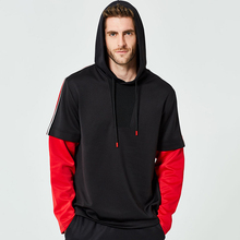 New Cool Men Hoodies Sweatshirts Loose Mens Hooded Shirt Fashion Cuff Stitching Long Sleeve Striped Print 2019