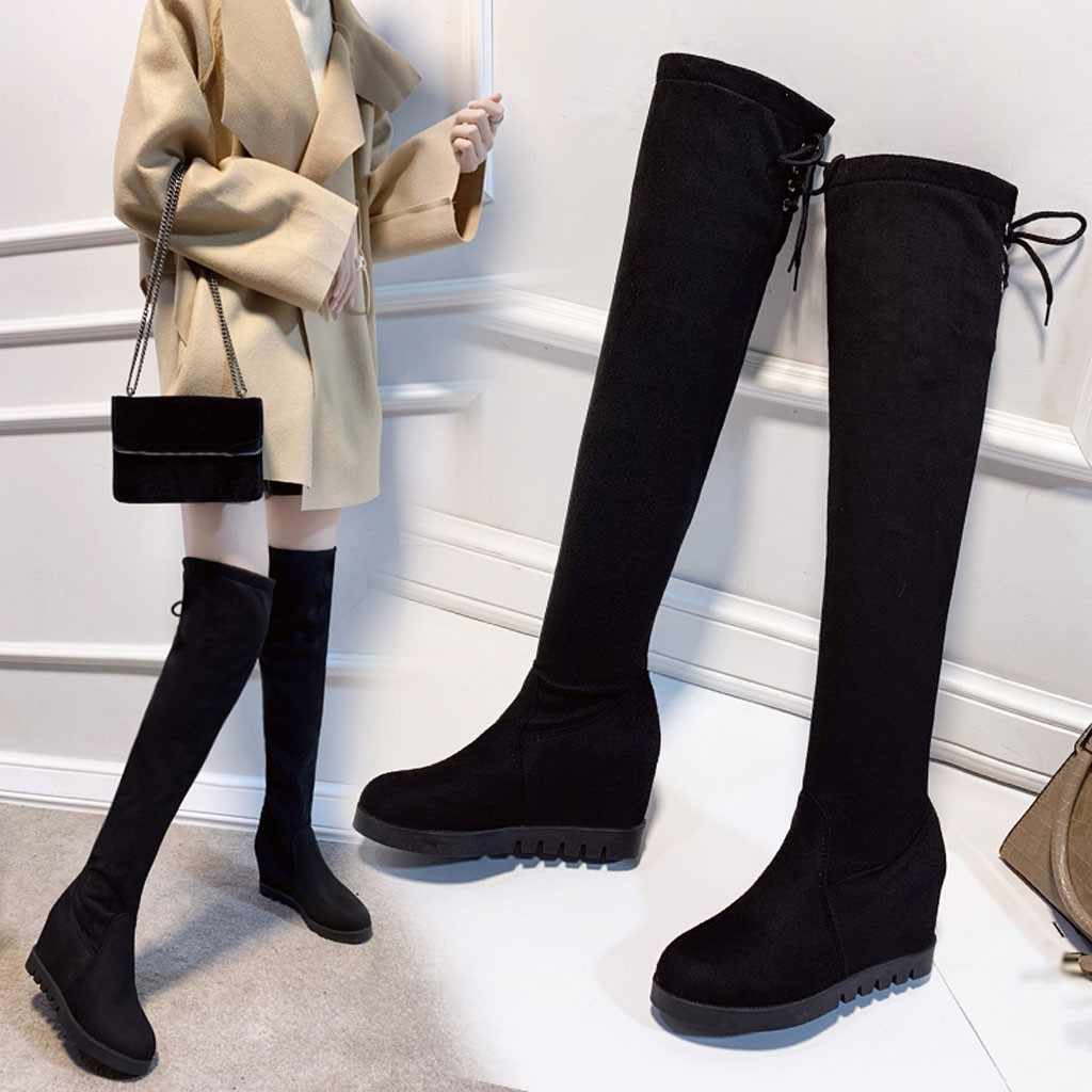 Ayakkabı kadın siyah katı çizmeler kadın yay bağlama uzun botas mujer invierno 2019 düz kış üzerinde kayma ayakkabı kadın kama botas mujer
