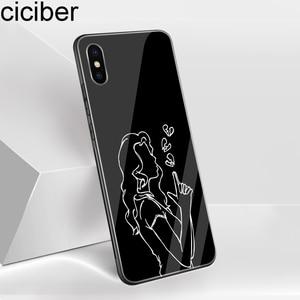 Image 5 - Ciciber الحالات الهاتف آيفون XR 7 8 6 6S زائد الملكة القلب الأزهار الزجاج المقسى غطاء آيفون 11 برو XS ماكس X Coque Funda