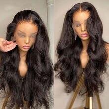Brasileiro glueless corpo onda 13x4 frente do laço peruca de cabelo humano laço suíço frontal 30 32 Polegada longo comprimento peruca para preto