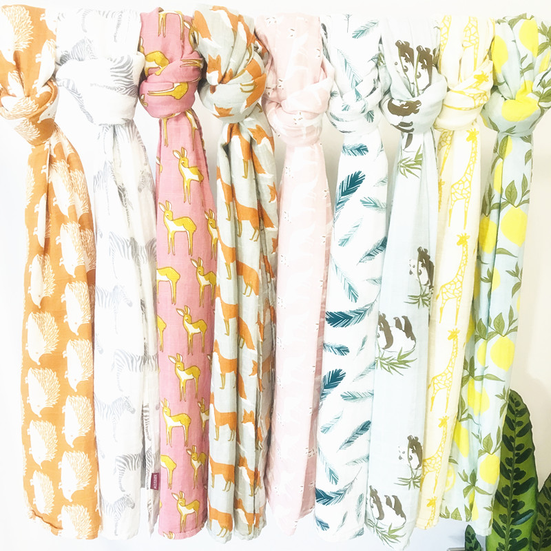 100% Organic Cotton Muslin Swaddle Blankets  Baby Swaddles Newborn Blankets Bath Gauze Infant Wrap Sleepsack Stroller Cover