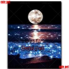 5d diy pintura diamante brilhando lua mar ondas broca cheia diamante bordado cristal venda diamante mosaico paisagem decoração