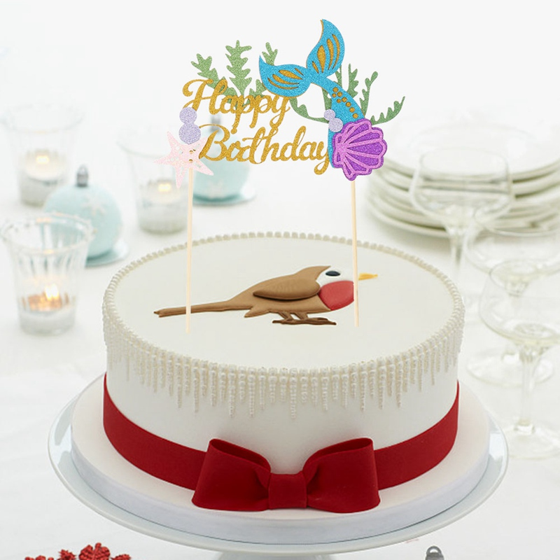 Strange Starfish Mermaid English Happy Birthday Cake Inserting Card Summer Personalised Birthday Cards Akebfashionlily Jamesorg