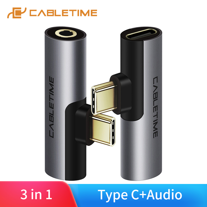 CABLETIME USB Type C To Audio 3.5mm Adapter Earphone Headphone Analog Signal For Xiao Mi Huawei Samsung Type-C OTG USB-C OTG C01