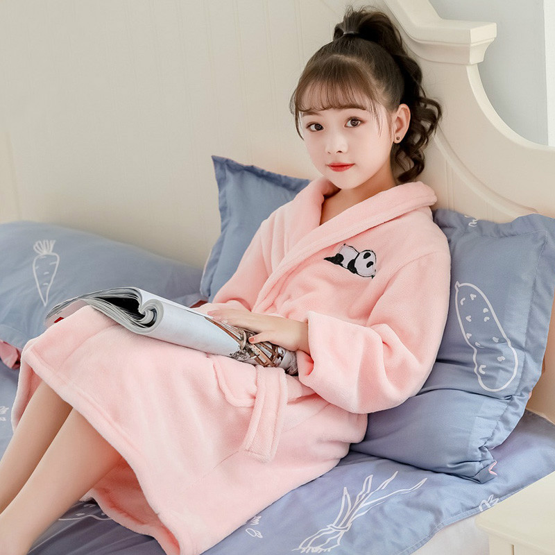 H5667 Girl Warm Robes Women Flannel Coral Fleece Plus Velvet Thickened Sleepwear Bathrobe Winter Sweet Home Clothes Nightwear