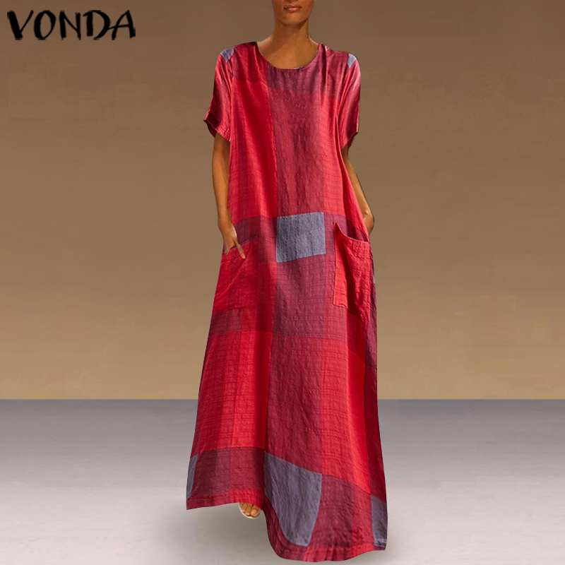 Bohemian Vests Women Vintage Patchwork Plaid Maxi Dress Holiday Beach Dress VONDA 2019 Casual Loose Summer Sundress Plus Size