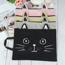 Washable A4 Cat Canvas Fabric File Bag File Folder Document Notebook Storage Organizer Bag Office School Supplies(China)