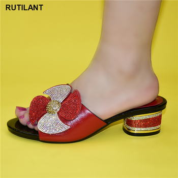 Najnowsze afrykańskie buty bez torby zestaw wygodne damskie buty na imprezy damskie wysokie obcasy damskie buty ślubne z Rhinestone tanie i dobre opinie RUTILANT Pantofle Round Heel CN (pochodzenie) Med (3 cm-5 cm) Pasuje prawda na wymiar weź swój normalny rozmiar Moda
