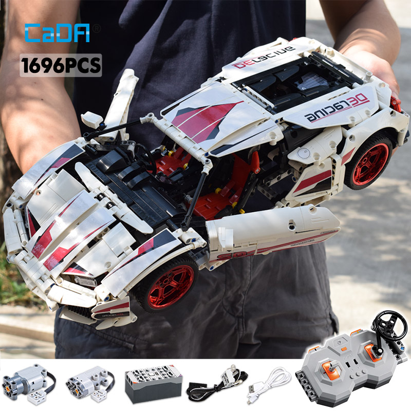 Cada 1696Pcs Remote Control Racing Car Building Blocks Assembled For Technic RC /non-RC City Bricks Toy for Children
