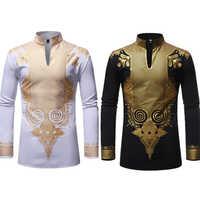 Neue Männer Druck Afrikanische Print Kleider Reiche Bazin Dashiki Langarm T-shirt Traditionelle 2020 Mode Stil Erwachsene Bluse Kleidung