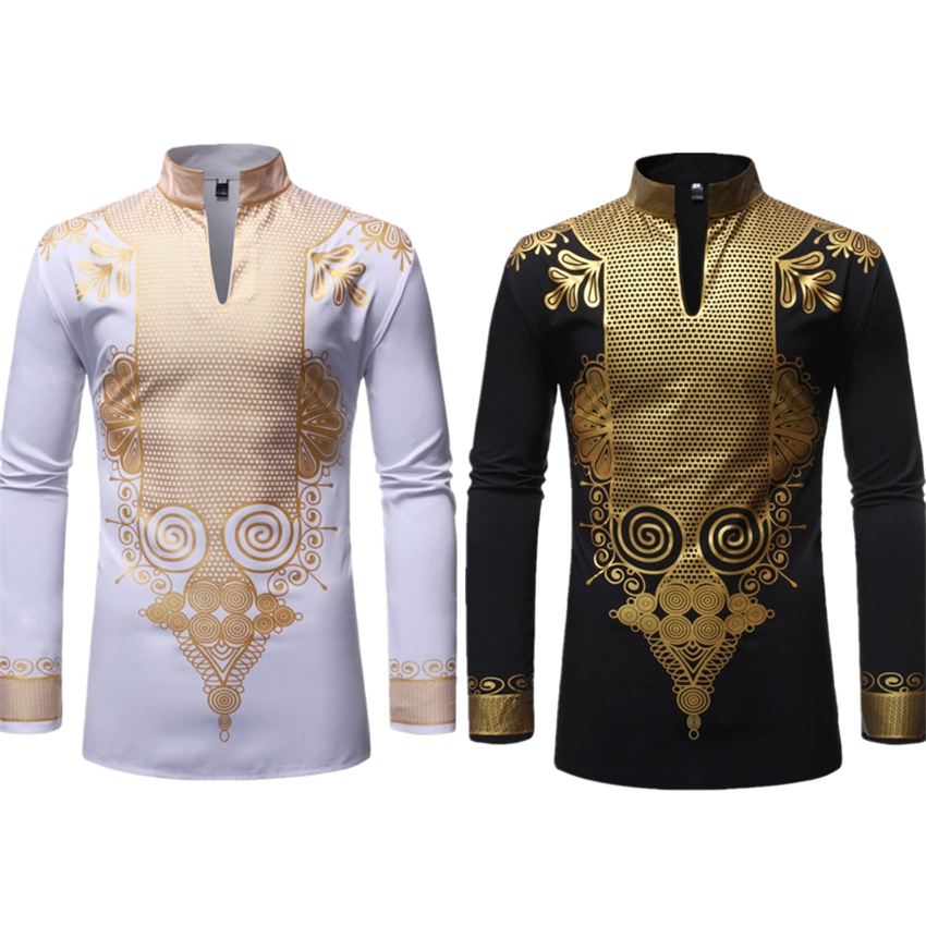 New Men Print African Print Dresses Rich Bazin Dashiki Long Sleeve T-shirt Traditional 2020 Fashion Style Adult Blouse Clothing(China)