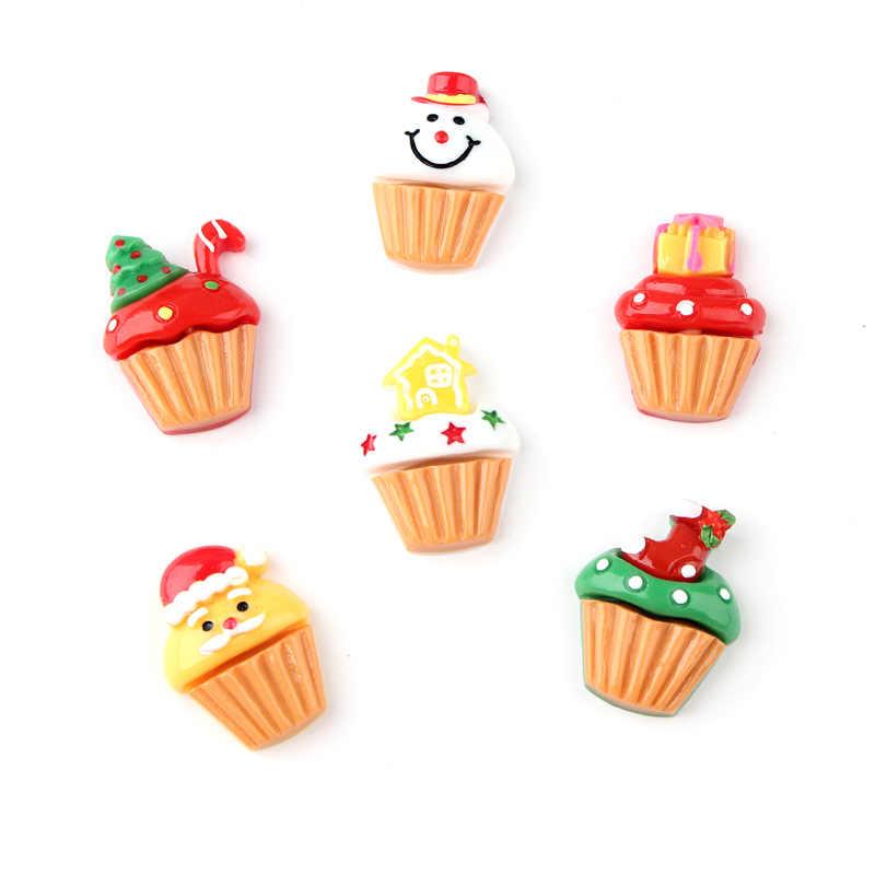 Miễn Phí Vận Chuyển 10 Chiếc 21*28 Mm Kawaii Giáng Sinh Thức Ăn Phong Cách Ly Bánh Kem Nhựa Cabochons Điện Thoại Vỏ đồ Trang Trí Trang Trí