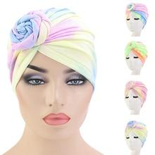 Donut Turban Caps For Women Chemo Hat Islamic Cotton Pleated Headscarf Hat Female Turbans Muslim Cap Bonnet Hair Loss Covers