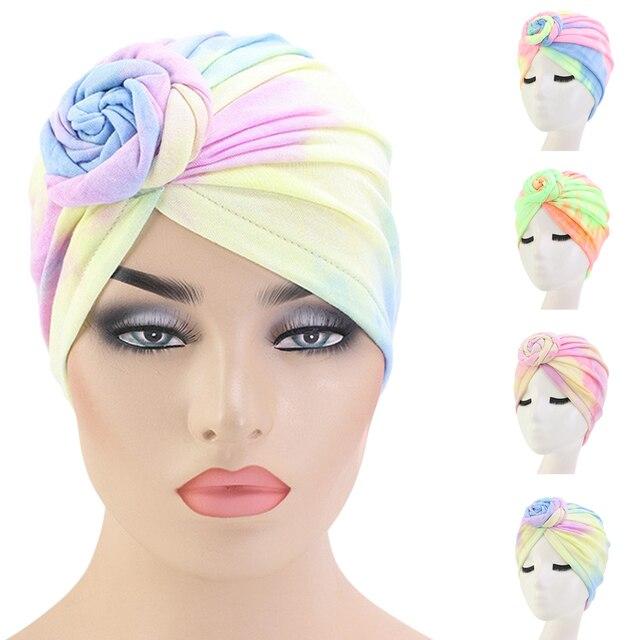 Tặng Băng Đô Cài Tóc Turban Gọng Mũ Lưỡi Trai Nữ Hóa Trị Nón Hồi Giáo Bông Xếp Ly Khăn Trùm Đầu Nón Nữ Turbans Hồi Giáo Mũ Bonnet Tóc Có
